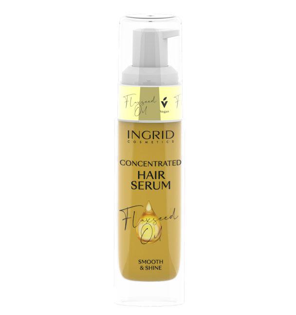 Ser Concentrat pentru par deteriorat Ingrid Hair Serum cu Ulei de Seminte de In, rol anti-rupere si stralucire, 30 ml-big