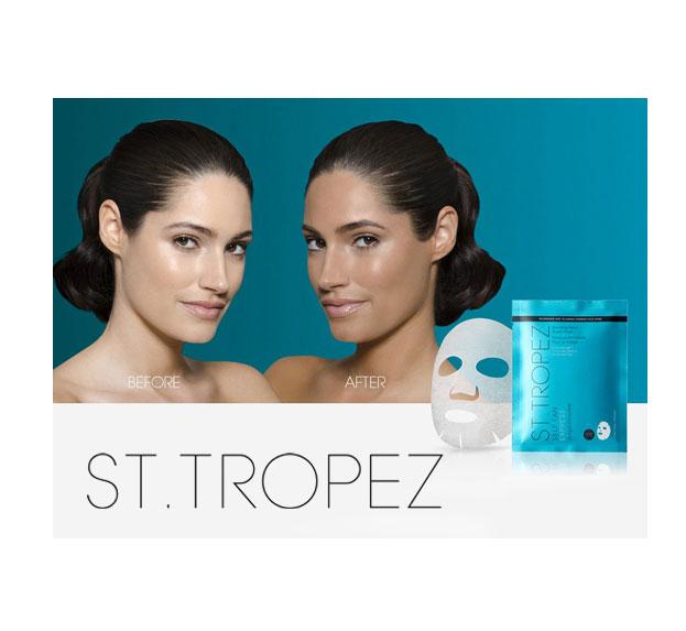 Set cu 2 Masi Autobronzante pentru fata ST TROPEZ Self Tan Express Bronzing Face Sheet Mask, 2 x 18.4 g-big