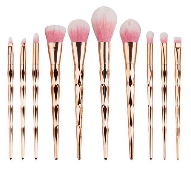 Trusa Profesionala Cu 10 Pensule De Machiaj Unicorn Diamond - Rose Gold-big
