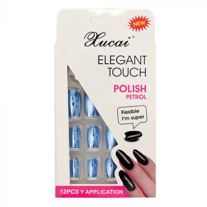 Set 12 Unghii False cu adeziv inclus Elegant Touch, Polish Petrol, 012 Glossy Dreams-big