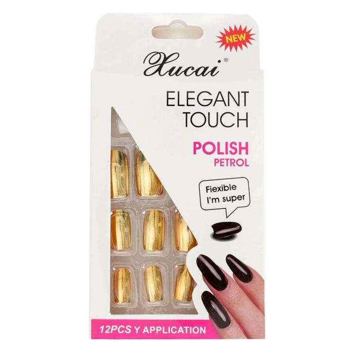 Set 12 Unghii False cu adeziv inclus Elegant Touch, Polish Petrol, 04 Glossy Gold-big