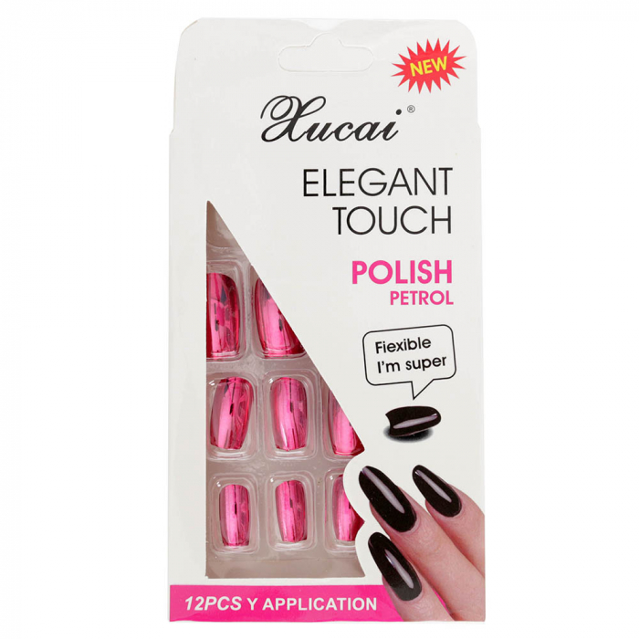 Set 12 Unghii False cu adeziv inclus Elegant Touch, Polish Petrol, 05 Glossy Candy-big