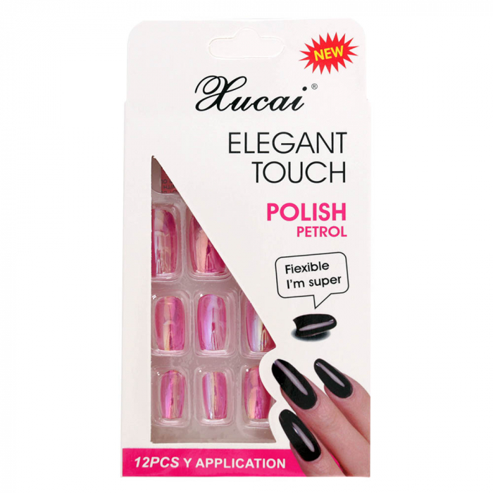 Set 12 Unghii False cu adeziv inclus Elegant Touch, Polish Petrol, 08 Glossy Pink-big