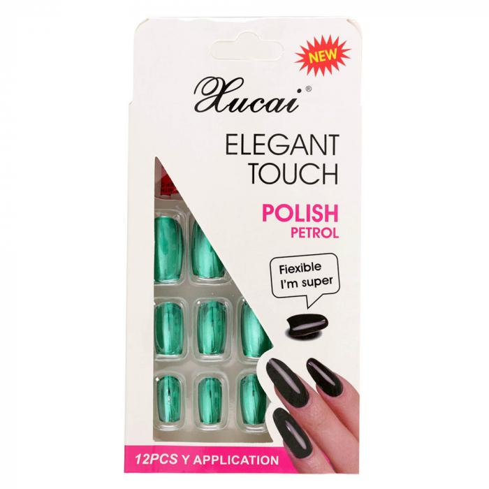 Set 12 Unghii False cu adeziv inclus Elegant Touch, Polish Petrol, 010 Glossy Green-big