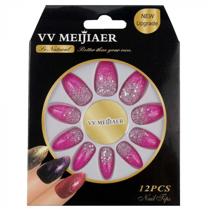Set 12 Unghii False VV Meijiaer So Natural, 35 Princess Pink-big