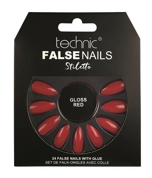 Set 24 Unghii False cu adeziv inclus Technic False Nails, Stiletto, Gloss Red-big