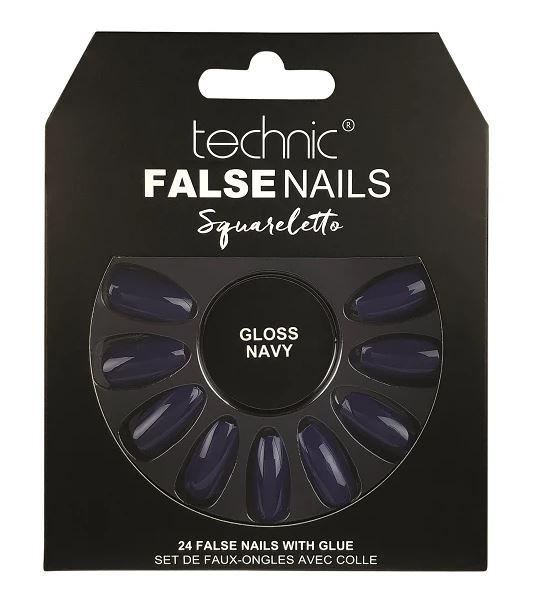 Set 24 Unghii False cu adeziv inclus Technic False Nails, Squareletto, Gloss Navy-big