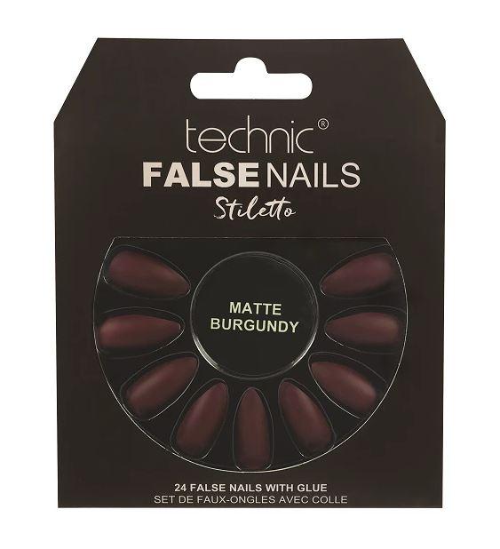 Set 24 Unghii False cu adeziv inclus Technic False Nails, Stiletto, Matte Burgundy-big