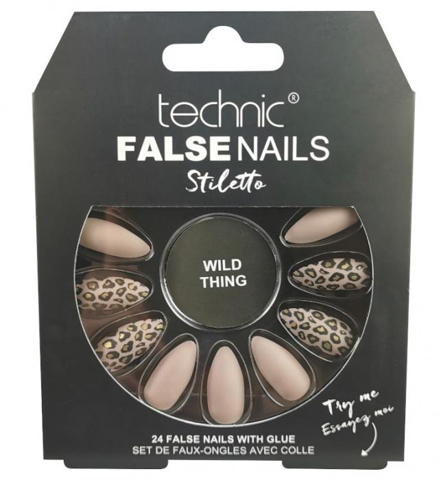 Set 24 Unghii False cu adeziv inclus Technic False Nails, Stiletto, Wild Thing-big