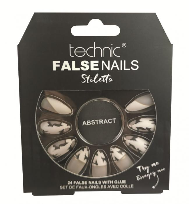 Set 24 Unghii False cu adeziv inclus Technic False Nails, Stiletto, Abstract-big