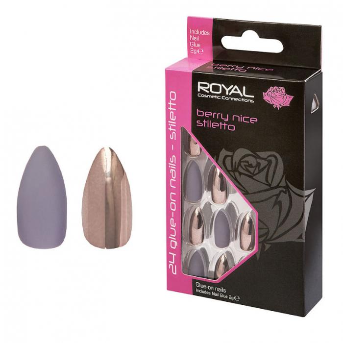 Set 24 Unghii False ROYAL Glue-On Nail Tips, Berry Nice Stiletto, Adeziv Inclus 3 g-big