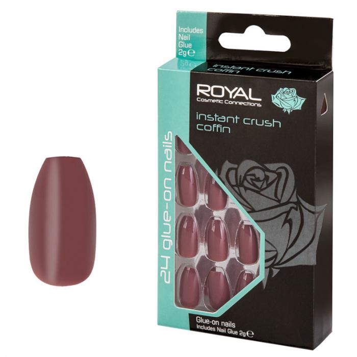 Set 24 Unghii False ROYAL Glue-On Nail Tips, Instant Crush Coffin, Adeziv Inclus 3 g-big