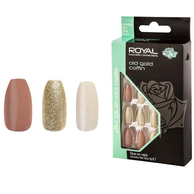Set 24 Unghii False ROYAL Glue-On Nail Tips, Old Gold Coffin, Adeziv Inclus 2 g-big