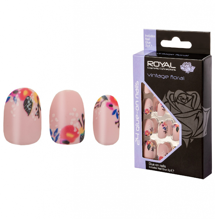 Set 24 Unghii False ROYAL Glue-On Nail Tips, Vintage Floral, Adeziv Inclus 2 g-big