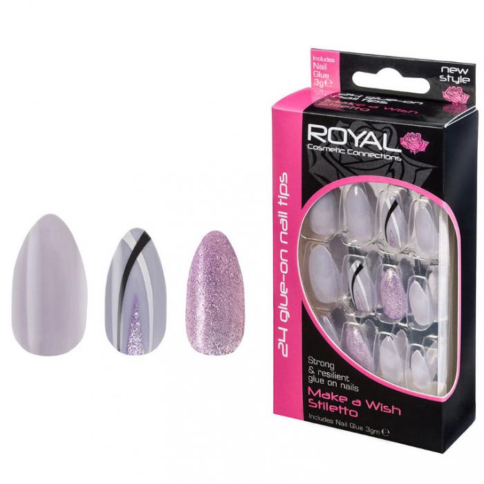 Set 24 Unghii False ROYAL Glue-On Nail Tips, Make A Wish Stiletto, Adeziv Inclus 3 g-big