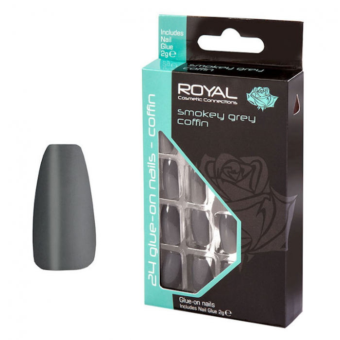Set 24 Unghii False ROYAL Glue-On Nail Tips, Smokey Grey Coffin, Adeziv Inclus 2 g-big