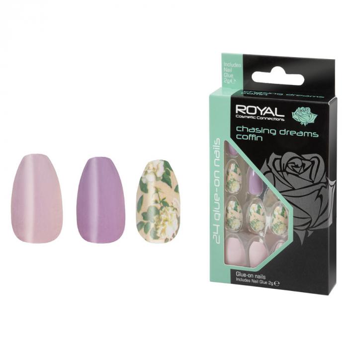 Set 24 Unghii False ROYAL Glue-On Nail Tips, Chasing Dreams Coffin, Adeziv Inclus 3 g-big