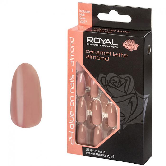 Set 24 Unghii False ROYAL Glue-On Nail Tips, Caramel Latte Almond, Adeziv Inclus 3 g-big
