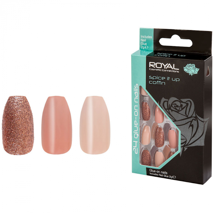 Set 24 Unghii False ROYAL Glue-On Nail Tips, Spice It Up Coffin, Adeziv Inclus 3 g-big