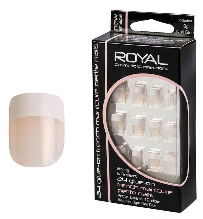 Set 24 Unghii False ROYAL Glue-On Nail French Manicure Petite Nails, Adeziv Inclus 3 g-big