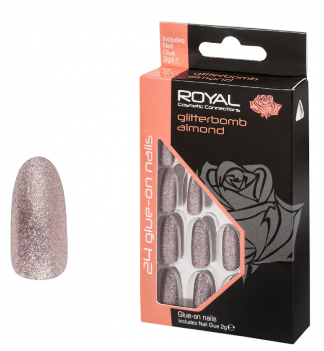 Set 24 Unghii False ROYAL Glue-On Nail Tips, Glitter Bomb Almond, Adeziv Inclus 3 g-big
