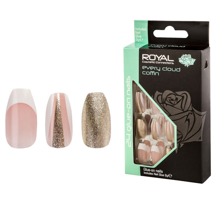 Set 24 Unghii False ROYAL Glue-On Nail Tips, Every Cloud Coffin, Adeziv Inclus 2 g-big