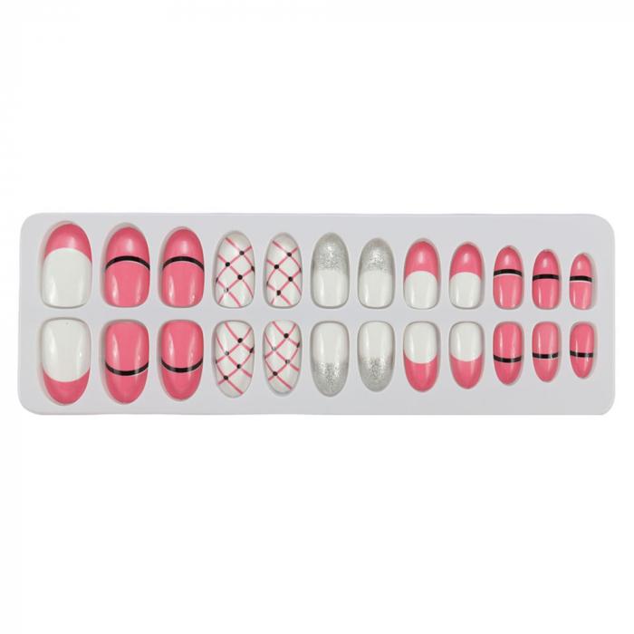 Set 24 Unghii False Tips cu aspect natural, Salon Nails, 09 Pink Icecream-big