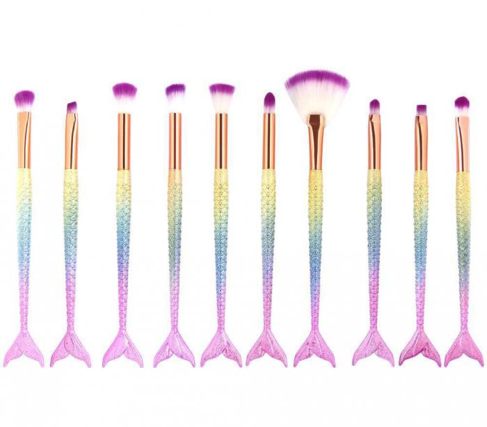 Set 10 Pensule Profesionale de tip SIRENA Lilyz Mermaid pentru ochi, sprancene si corector-big