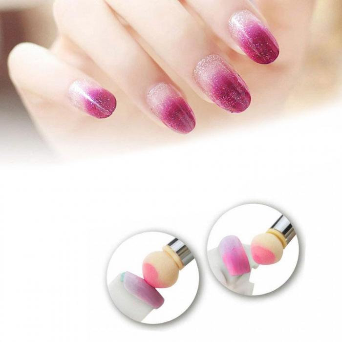 Pensula unghii cu burete pentru Ombre Baby Boomer + 4 rezerve, Nail Art Tool, Pink-big