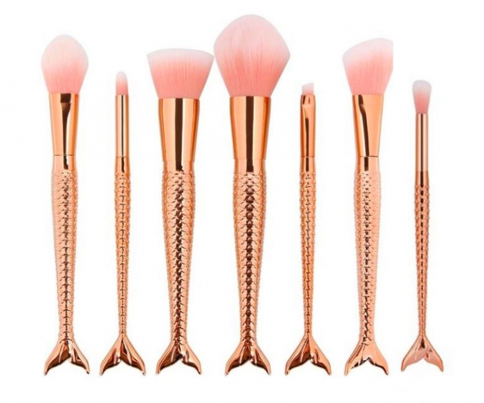 Set 7 Pensule Profesionale de tip SIRENA, Magical Mermaids, Rose Gold-big