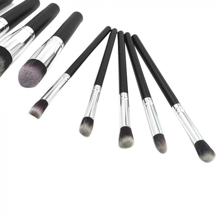 Set de 10 Pensule Profesionale Top Quality Kabuki Lilyz, Black-big