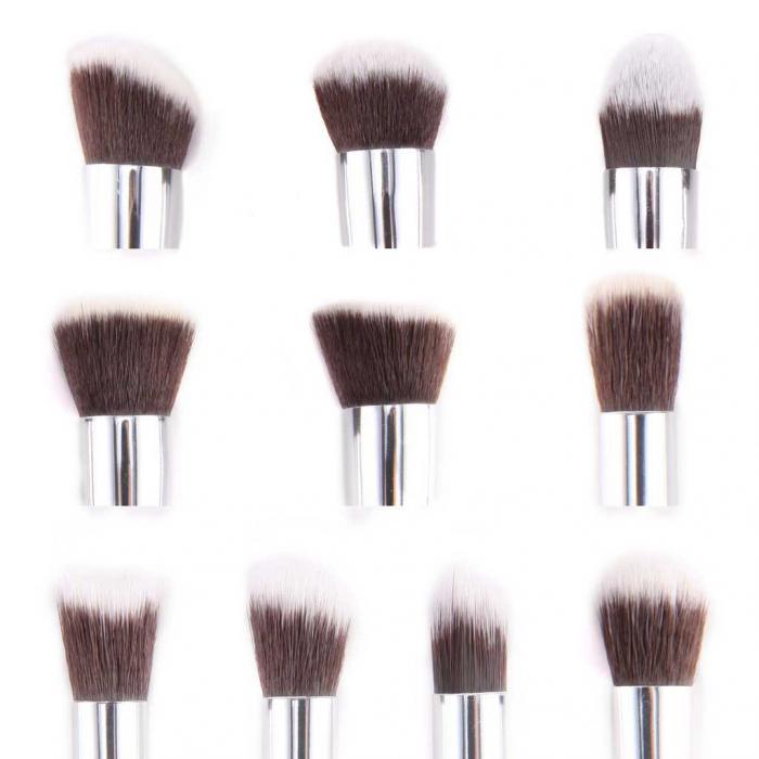 Set de 10 Pensule Profesionale Top Quality Kabuki Lilyz, White-big