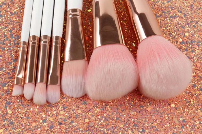Set de 7 Pensule Profesionale din Par Natural cu borseta, Glitter Diamonds-big
