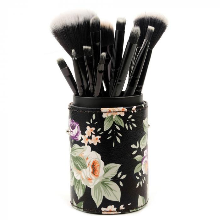 Set de 12 Pensule Profesionale pentru Machiaj cu Suport, Vintage Flowers-big