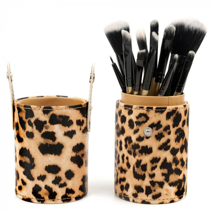 Set De 12 Pensule Profesionale Pentru Machiaj Cu Suport, Leopard