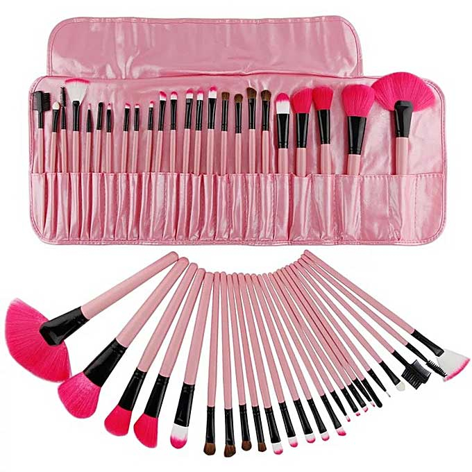 Set de 24 Pensule Profesionale Top Quality Lilyz, mix de par natural, Pink-big