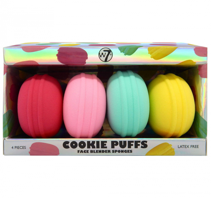 Set de 4 Bureti Macaroons pentru Machiaj, fara latex, W7 Cookie Puff Face Blender Sponges-big