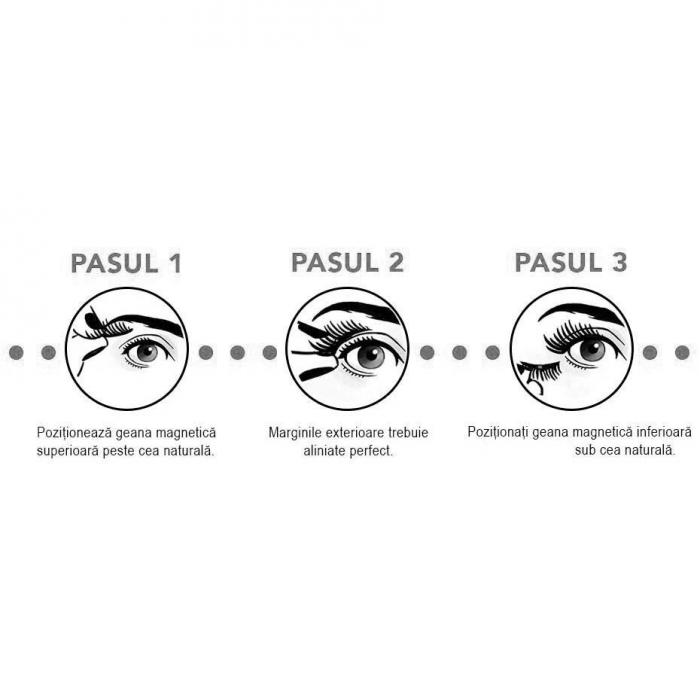 Set Gene False Profesionale cu prindere magnetica in 3 magneti, Reutilizabile, Negru intens, Eyelash 019-big