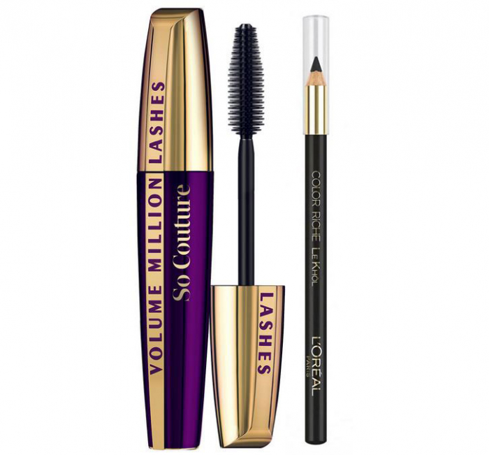 Set Machiaj L'Oreal Paris: Mascara Volume Million Lashes So Couture si Creion de Ochi Color Riche Le Khol, Black Edition-big
