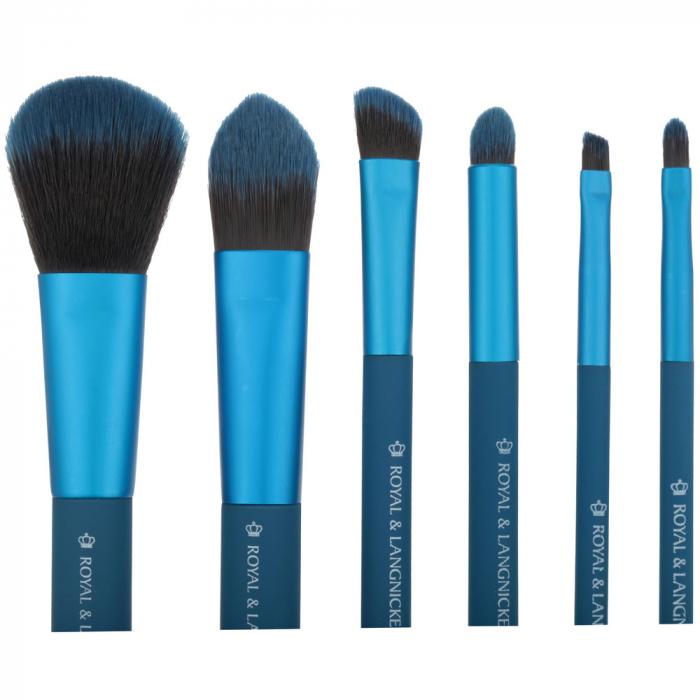 Set pensule profesionale Royal & Langnickel MODA Total Face Flip Kit, 7 piese, Blue-big
