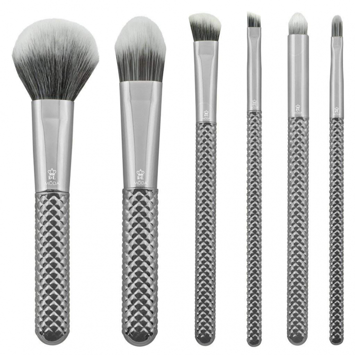 Set pensule profesionale Royal & Langnickel MODA Metallics Total Face Flip Kit, 7 piese, Silver-big