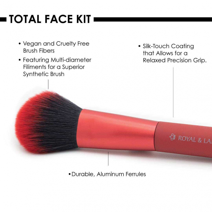 Set pensule profesionale Royal & Langnickel MODA Total Face Flip Kit, 7 piese, Red-big