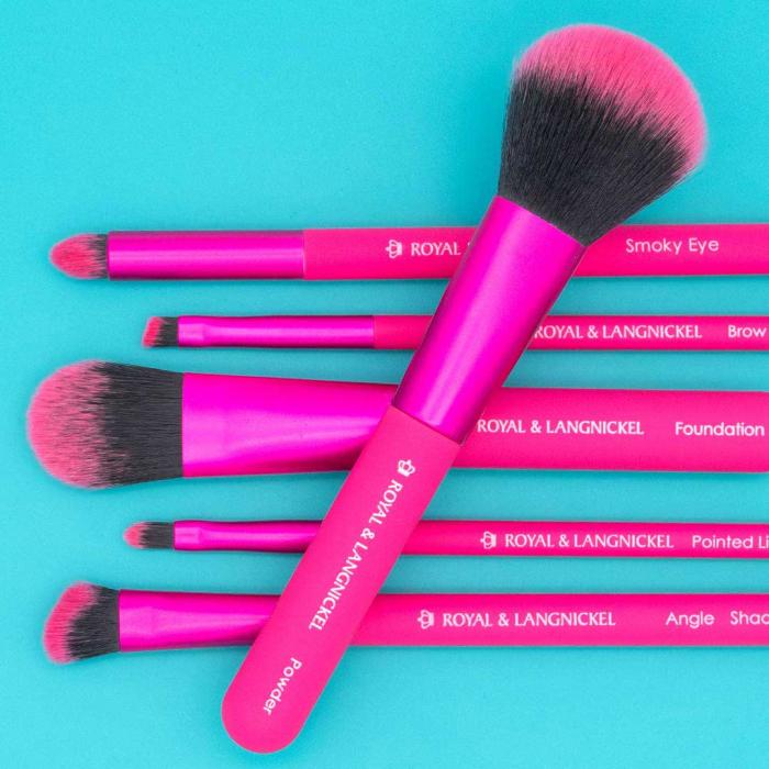 Set pensule profesionale Royal & Langnickel MODA Total Face Flip Kit, 7 piese, Pink-big