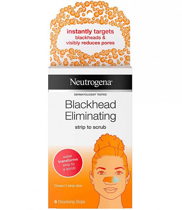 Set Plasturi pentru nas cu acid salicilic NEUTROGENA Blackhead Eliminating Strip to Scrub, pentru eliminarea punctelor negre si minimizarea porilor, 6 benzi-big
