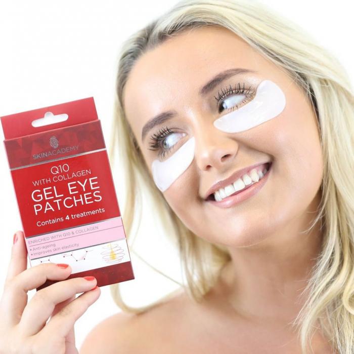 Set Plasturi Tratament Anti-Rid pentru ochi cu Q10 si Colagen, SKIN ACADEMY Gel Eye Patches, 4 seturi (8 plasturi)-big
