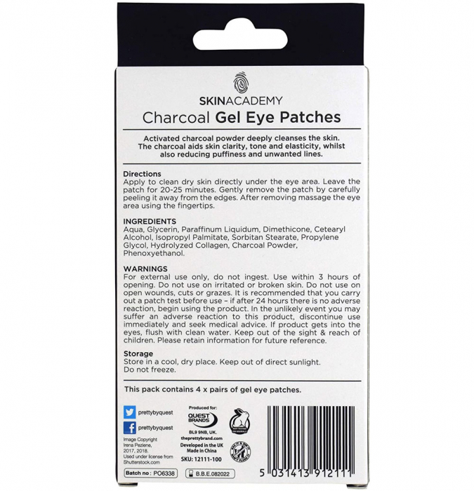 Set Plasturi Tratament pentru ochicu Carbune Activ SKIN ACADEMY Gel Eye Patches, 4 seturi (8 plasturi)-big