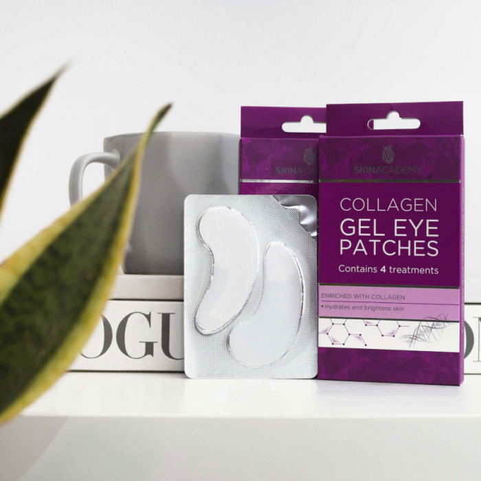 Set Plasturi Tratament pentru ochi cu Colagen, SKIN ACADEMY Gel Eye Patches, 4 seturi (8 plasturi)-big