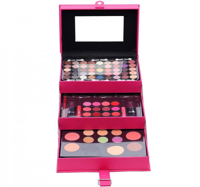 Set Profesional Pentru Machiaj Cu Geanta Reutilizabila Magic Color Makeup Kit, Rose Pink, 85 Piese