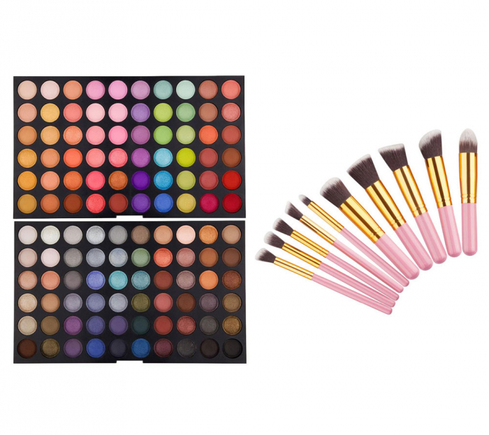Set Profesional Pentru Machiaj Cu Trusa De Farduri 120 Nuante P3 Si 10 Pensule Top Quality Kabuki, Pink Gold
