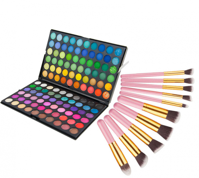 Set profesional pentru machiaj cu Trusa de Farduri 120 Nuante P1 si 10 Pensule Top Quality Kabuki, Pink Gold-big